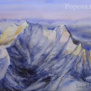 """Sunset on the snowy peaks"" Natalia Popova - Professional Artist"