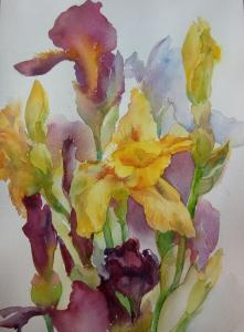"""Irises"" Watercolor Natalia Popova - Professional Artist"