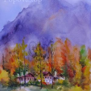 """Autumn. Twilight. Mountains."" Natalia Popova - Professional Artist"