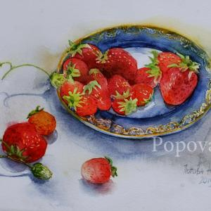 """On a platter with a gold border"" Natalia Popova - Professional Artist"