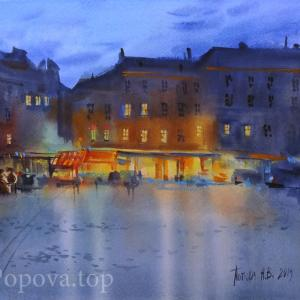 """Square after the rain"" Natalia Popova - Professional Artist"
