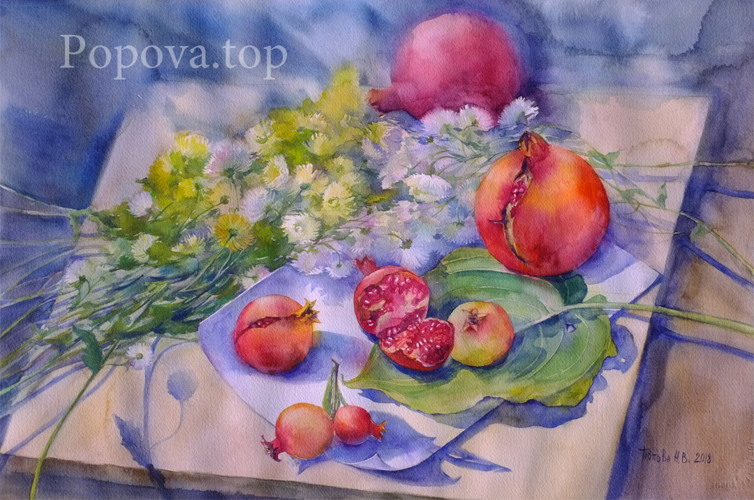 Chrysanthemum sun pomegranates Watercolor 38x56 Written by Natalia Popova - Professional Artist in 2018