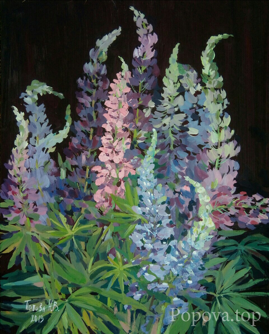 Lupins Painting Tempera 40x50 Written by Natalia Popova - Professional Artist in 2019
