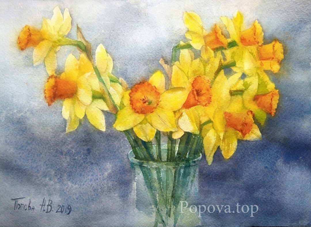 Yellow cloud of Daffodils Painting Watercolor 28x38 Written by Natalia Popova - Professional Artist in 2019