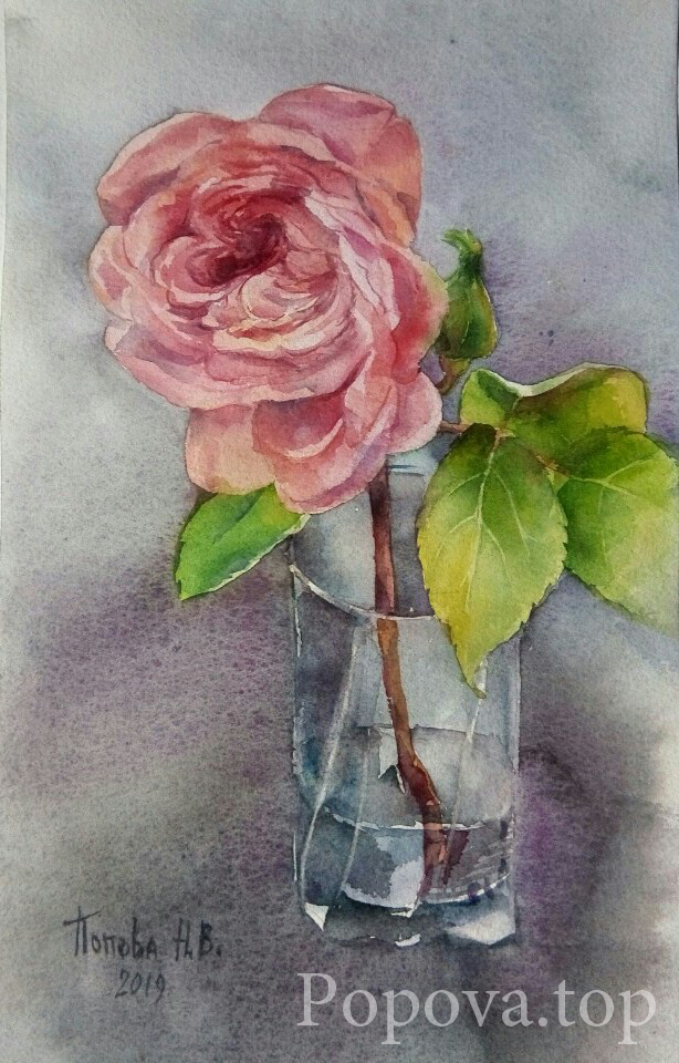 Ashes of roses Painting Watercolor 18x30 Written by Natalia Popova - Professional Artist in 2019