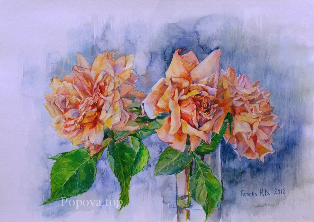Roses May Painting Watercolor 35x50 Written by Natalia Popova - Professional Artist in 2018