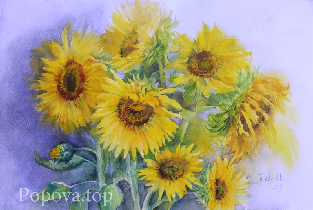 Summer Watercolor Painting 38x56 Written by Natalia Popova - Professional Artist in 2019