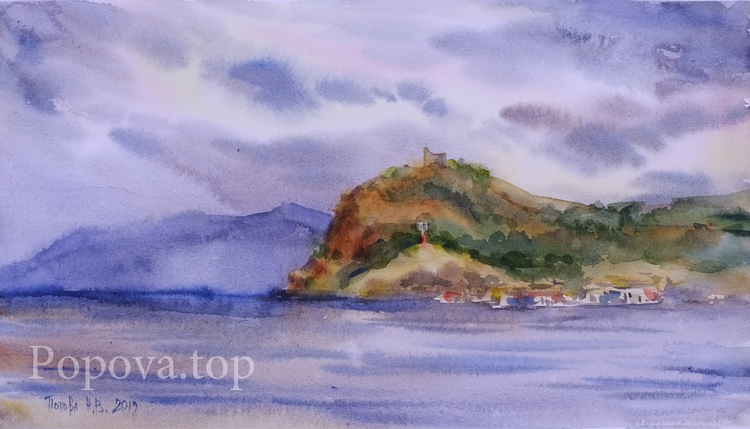 Choban-Kale western capes Painting (quick sketch) Watercolor 39x23 Painted by Natalia Popova - Professional Artist in 2019
