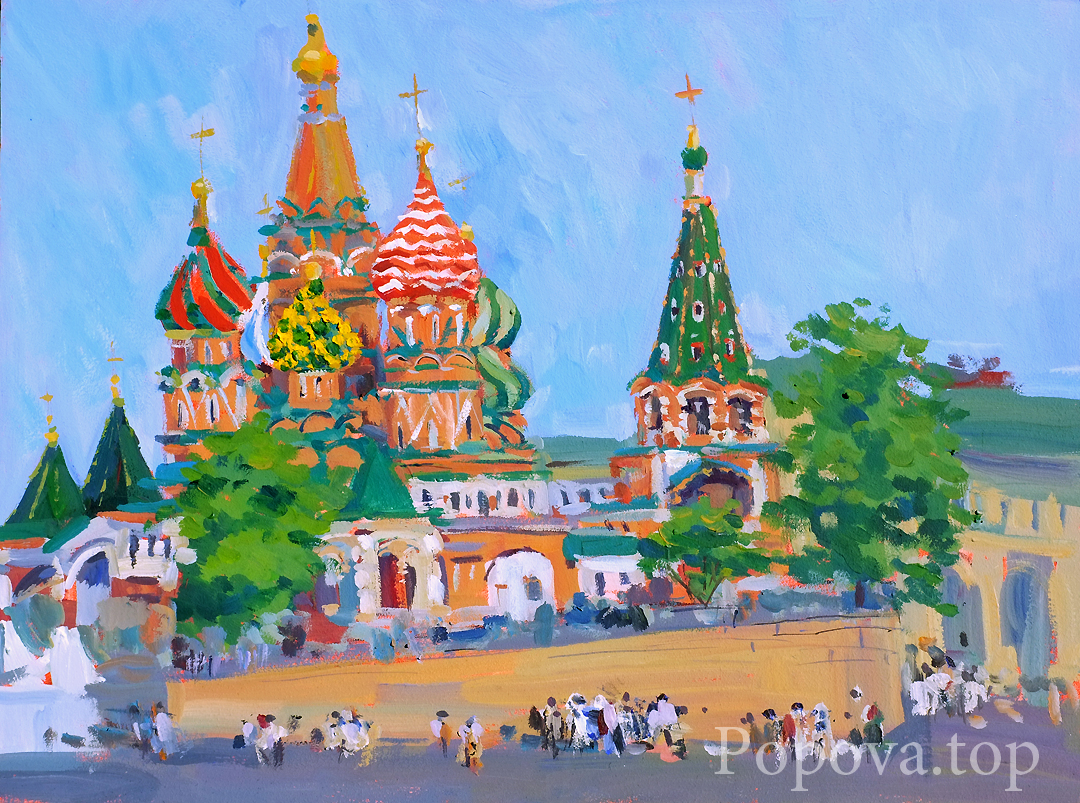 Temple and blessed people Painting Tempera 45x60 Written by Natalia Popova - Professional Artist in 2019