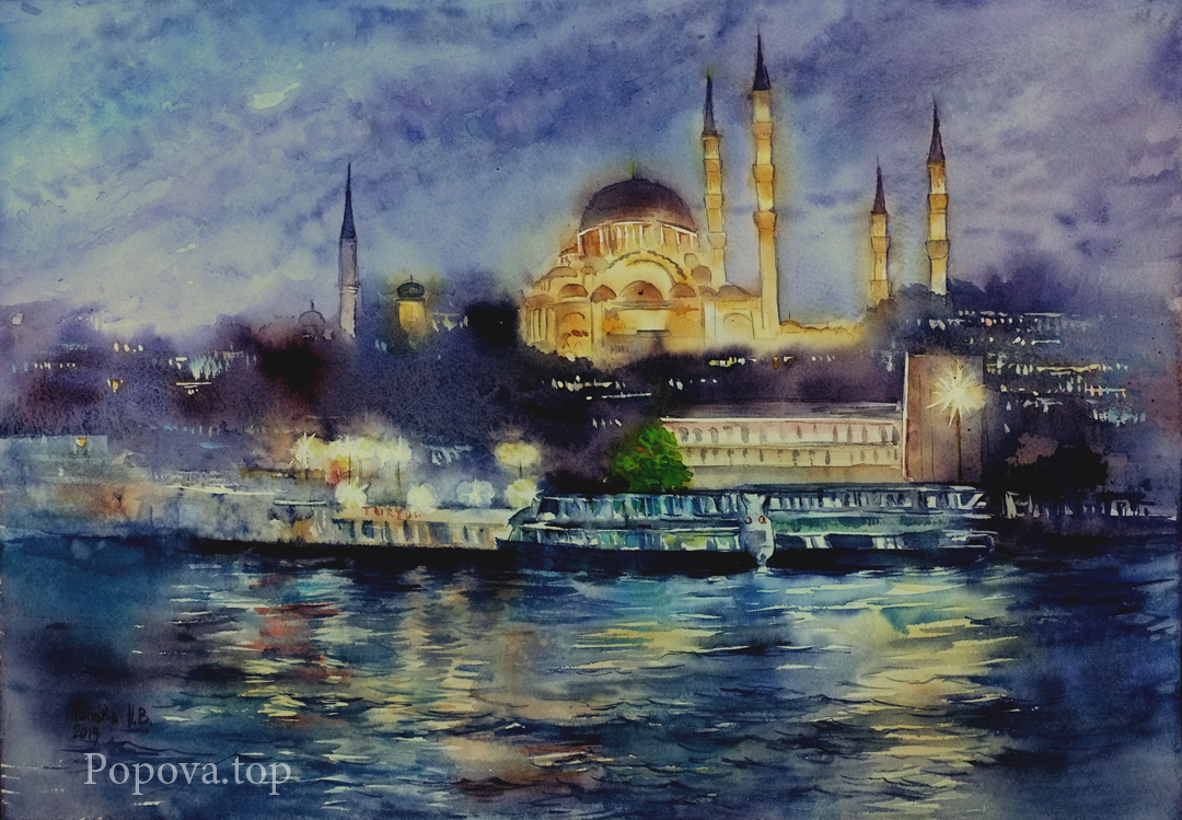 Istanbul Night Watercolor Painting 36x51 Written by Natalia Popova - Professional Artist in 2019