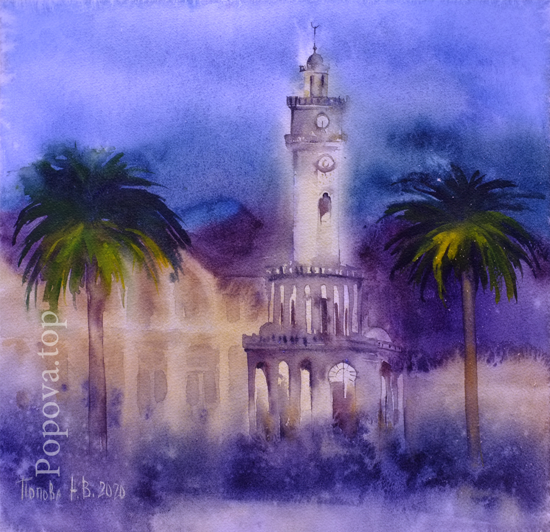 Izmir Painting Watercolor 35x35 Written by Natalia Popova - Professional Artist in 2020