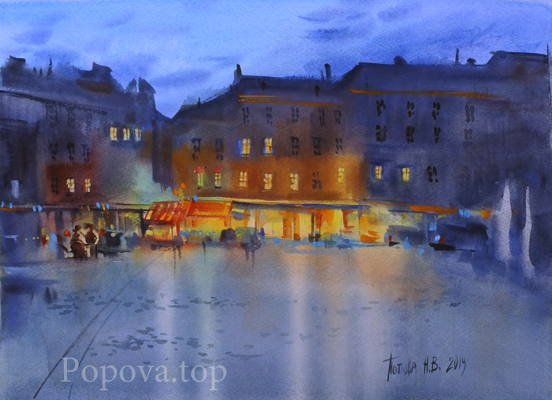 Square after the rain Painting Watercolor 28x38 According to a workshop by Sergey Kurbatov Nataliya Popova - Professional Artist 2019