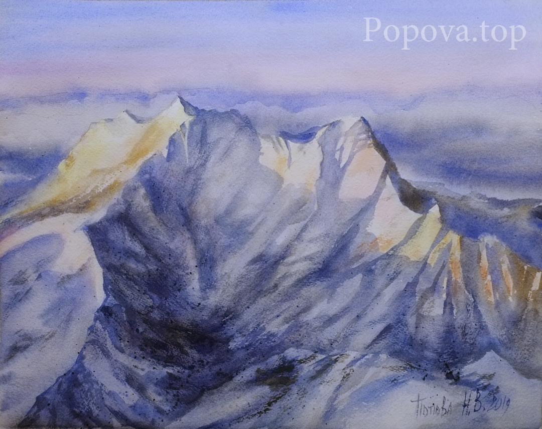 Sunset on the snowy peaks Painting Watercolor 28x38 Painted by Natalia Popova - Professional Artist in 2019