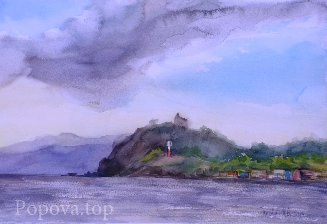 Windy Day Etude Watercolor 38x28 Written by Natalia Popova - Professional Artist in 2019