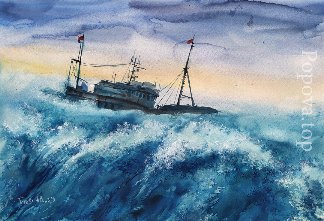 Survive the Storm Watercolor 38x56 Nataliya Popova - Professional Artist 2020