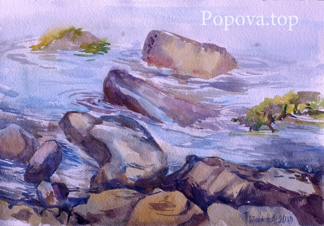 Rocky beach Painting (quick sketch) Watercolor A4 Painted by Natalia Popova - Professional Artist in 2019