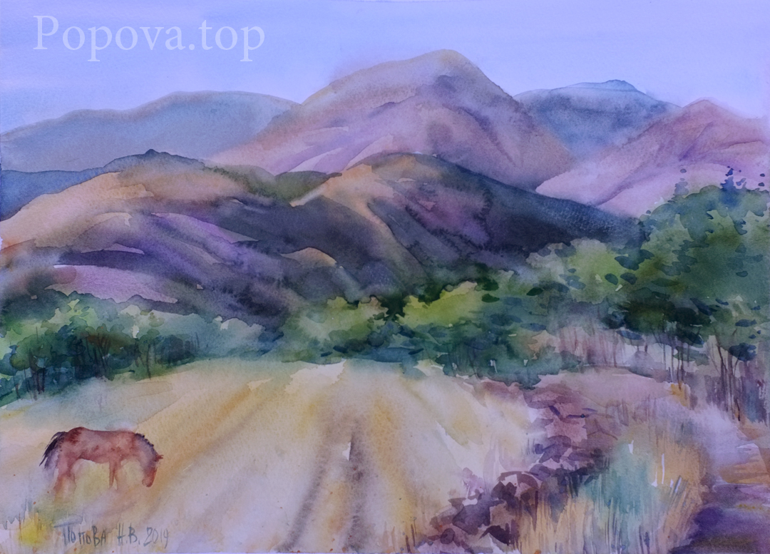Valley Choban-Kale Painting (quick sketch) Watercolor 40x30 Painted by Natalia Popova - Professional Artist in 2019