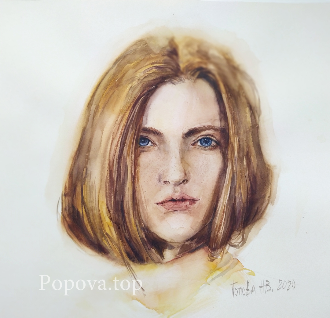 Velvet Beauty Painting Etude Watercolor 32x32 Painted by Natalia Popova - Professional Artist in 2020